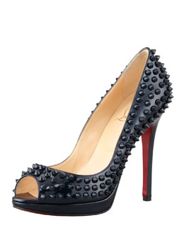 Christian Louboutin Yolanda Spikes Peep-Toe Red Sole Pump, Blue Khol