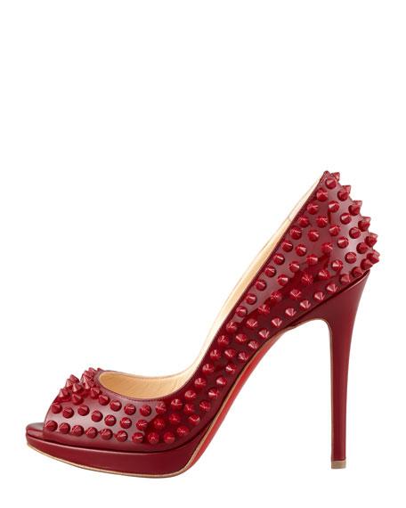 Yolanda Spikes Peep-Toe Platform Pump, Red