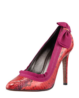 Lanvin Snakeskin Point-Toe Side-Bow Pump