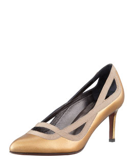 Lanvin Grosgrain-Trimmed Metallic Pump, Gold
