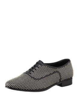 Saint Laurent Studded Lace-Up Leather Oxford, Black