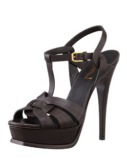 Saint Laurent Tribute High-Heel Leather Sandal, Chocolate