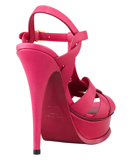 Tribute High-Heel Leather Sandal, Fuchsia