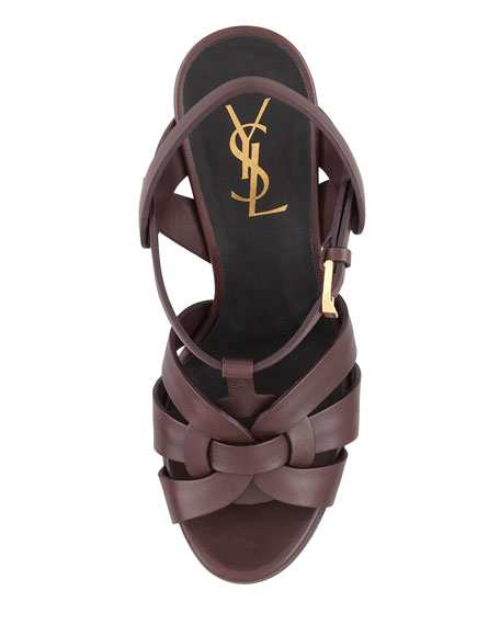 Tribute High-Heel Leather Sandal, Dark Red