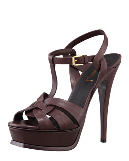 Saint Laurent Tribute High-Heel Leather Sandal, Dark Red