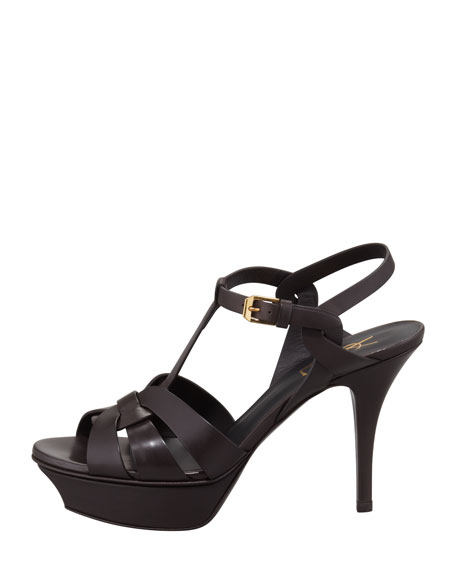 Tribute Low-Heel Leather Sandal, Chocolate