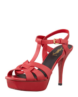 Saint Laurent Tribute Low-Heel Leather Sandal, Rouge