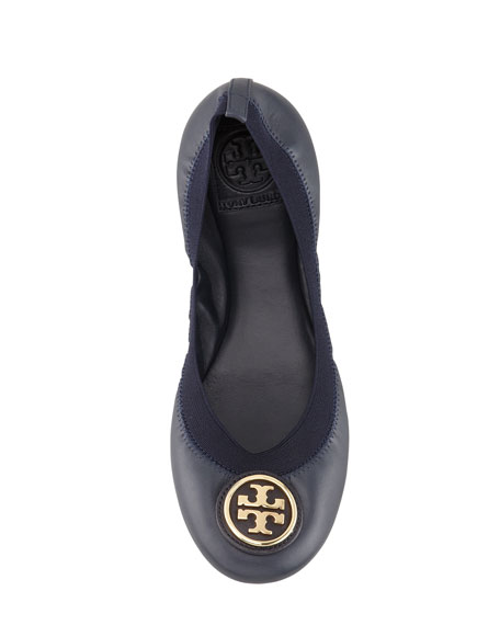 Caroline 2 Leather Stretch Ballerina Flats, Bright Navy
