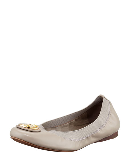 588551ead15e coupon code tory burch caroline 2 leather stretch ballerina flats dust  storm aded6 8055e