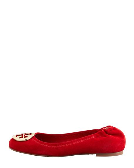 Reva Suede Logo Ballerina Flat, Red
