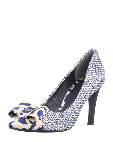 Cleo Tweed & Silk Bow Pump