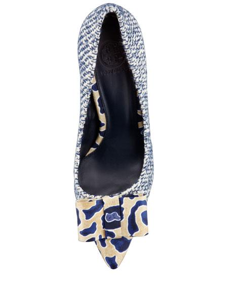 Cleo Tweed & Silk Bow Pump