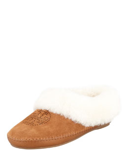 Tory Burch Coley Suede Shearling-Lined Slipper