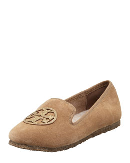 Tory Burch Billy Suede Smoking Slipper, Camel