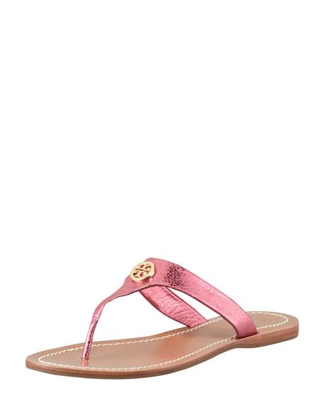 Cameron Metallic Leather Logo Thong, Pink