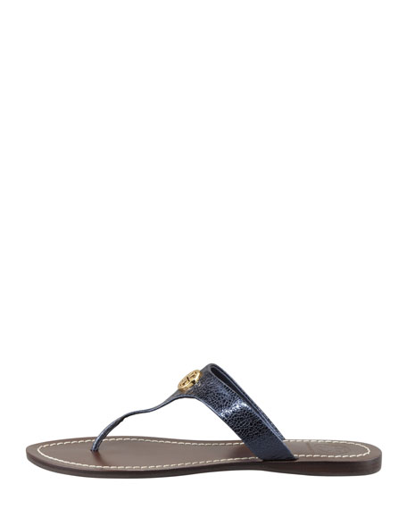 Cameron Metallic Leather Logo Thong Sandal, Navy