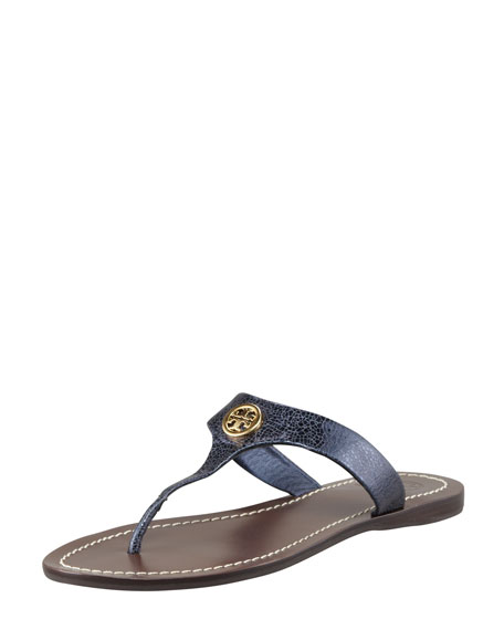 746161e38f5e Tory Burch Cameron Metallic Leather Logo Thong Sandal
