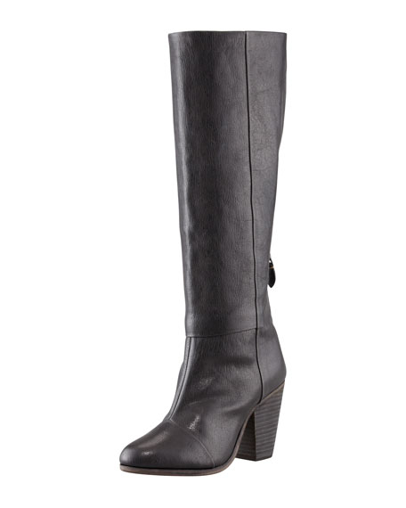 Newbury Leather Knee Boot, Black