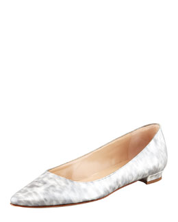 MANOLO BLAHNIK Titto Pointed-Toe Ballerina Flat, Gray