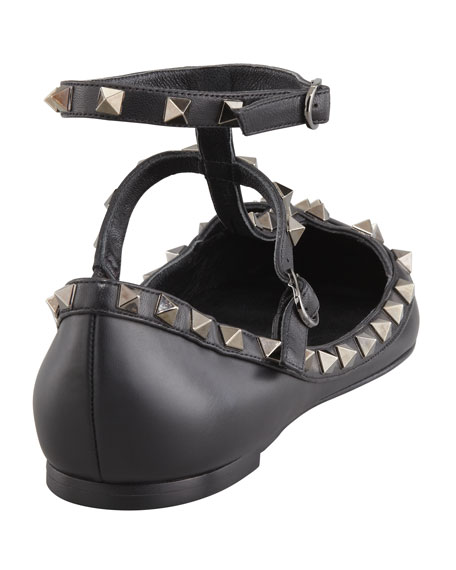 Noir Rockstud Leather Caged Ballerina
