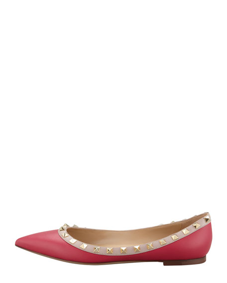 Rockstud Leather Ballerina Flat, Pink