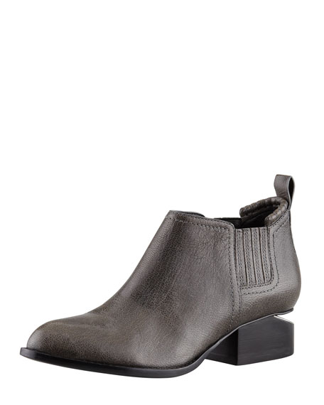 Kori Short Leather Ankle Bootie, Shiny Gray