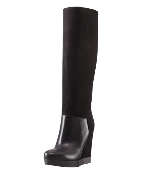 Vivian Leather & Nubuck Wedge Knee Boot, Black