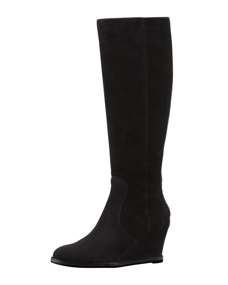 Suede Wedge Knee-High Boot