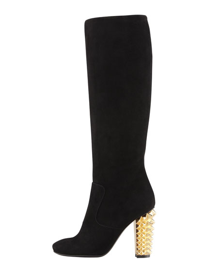 Suede Stud-Heel Knee Boot, Black