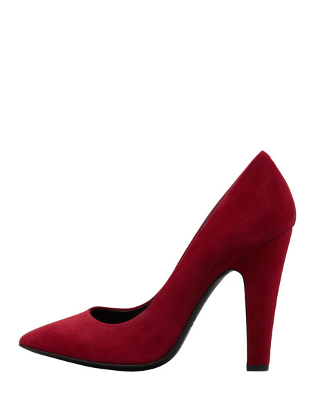 Suede Pointed-Toe Thick-Heel Pump, Red