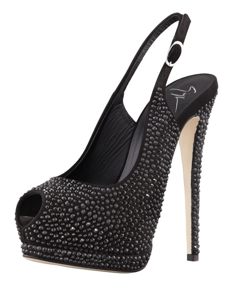Crystallized Platform Peep-Toe Slingback, Black