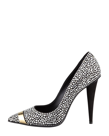 Ester Crystallized Pointy-Toe Pump, Black