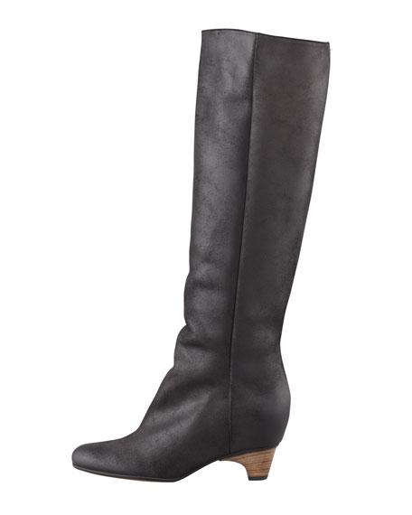 Nubuck Low-Heel Knee Boot