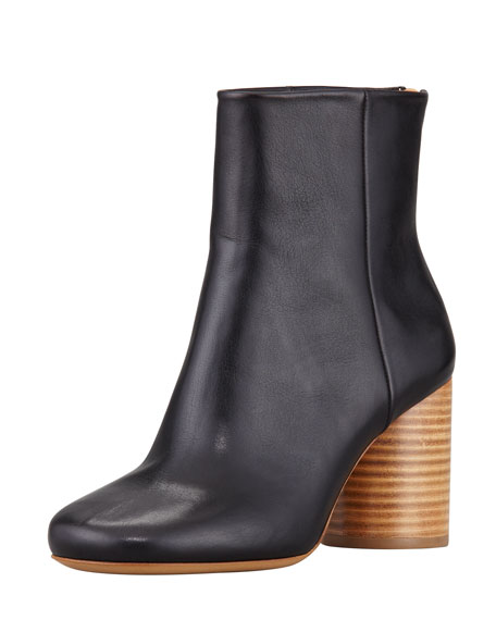 Leather Wooden-Heel Ankle Boot