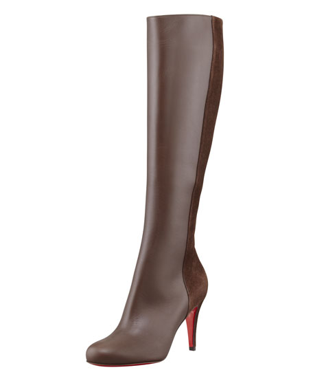 Acheval Suede-Back Knee Boot, Coffee
