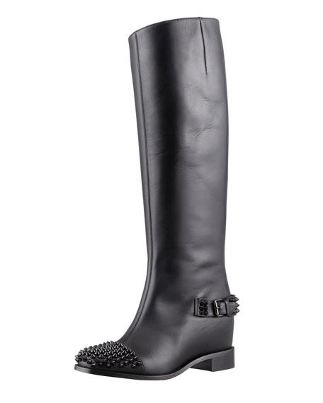 Egotina Spike Red-Sole Boot, Black