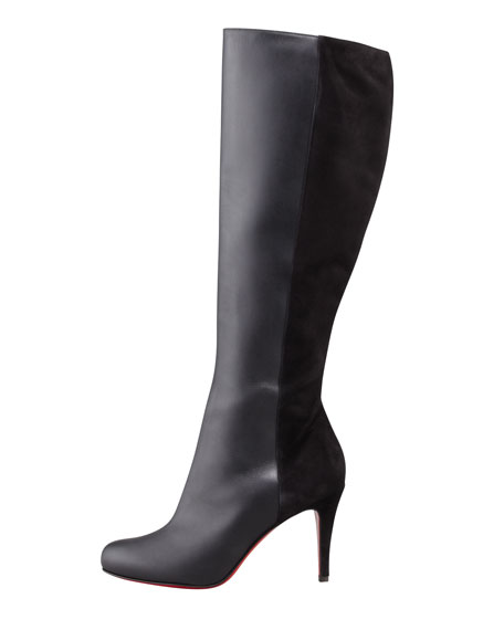 Acheval Suede-Back Knee Boot, Black