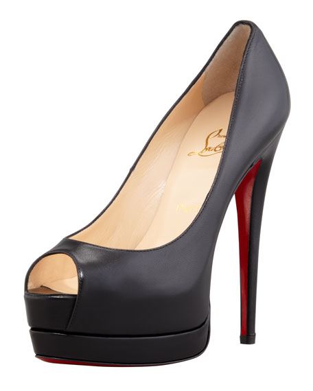 Palais Royal Red-Sole Platform Pump, Black
