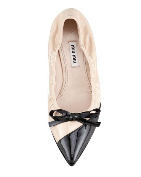 Bicolor Pointed-Toe Ballet Flat, Nude/Black
