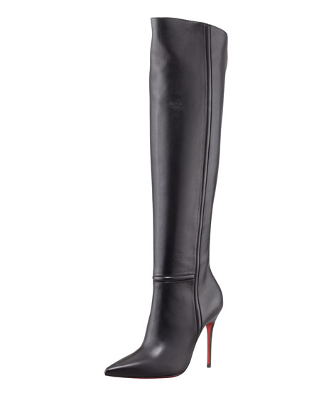 low priced 5dd7a b8760 Armurabotta Thigh-High Pointy Red Sole Boot Black