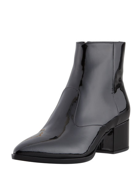 Vernice Pointed-Toe Ankle Boot, Black