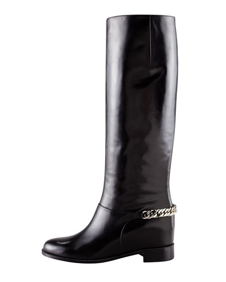Cate Chain-Trim Red-Sole Knee Boot