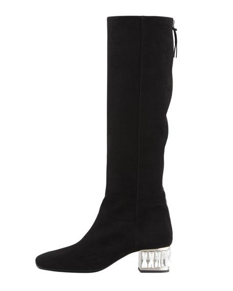 Jewel-Heel Suede Knee Boot, Black