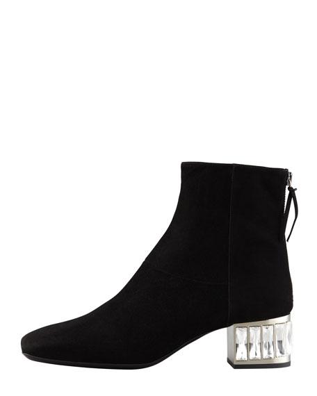 Baguette Heel Suede Ankle Boot, Black