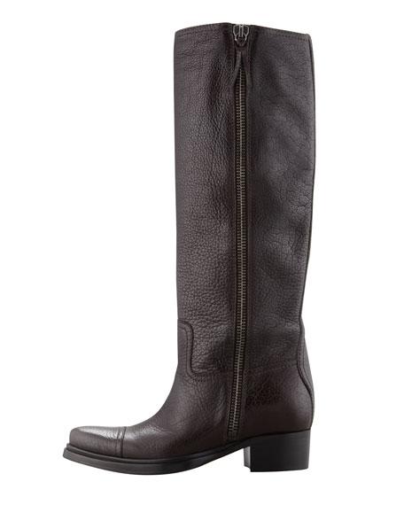 Low-Heel Side-Zip Knee Boot