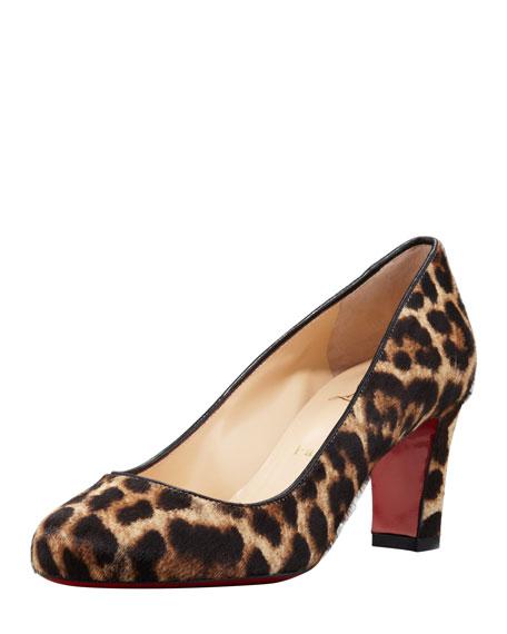 Mistica Low-Heel Calf Hair Red Sole Pump, Leopard