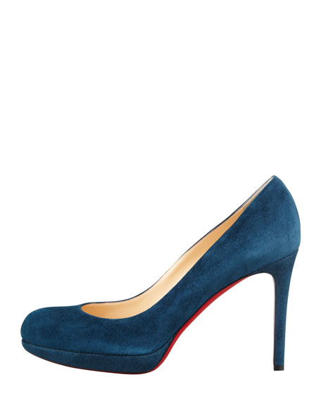 New Simple Suede Platform Red Sole Pump, Blue Kohl