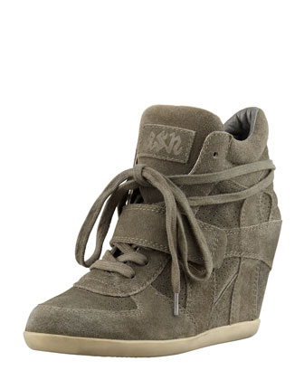 Bowie Suede Wedge Sneaker, Green