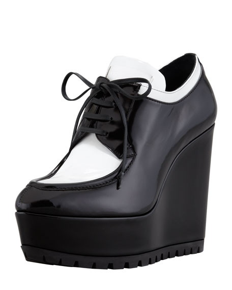 Spazzolato Oxford Wedge, Black/White