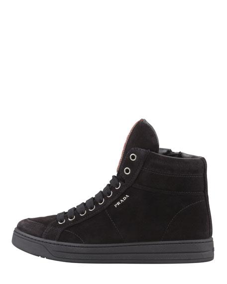 Suede Zip High-Top Sneaker, Black
